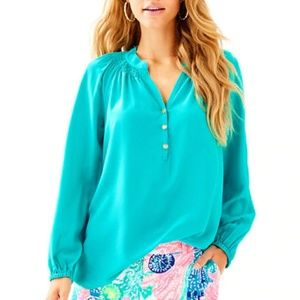 New lilly pulitzer elsa silk top blue large